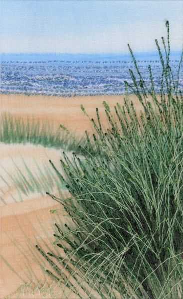 Free motion embroidered textile art 'A Beach' by Alison Holt