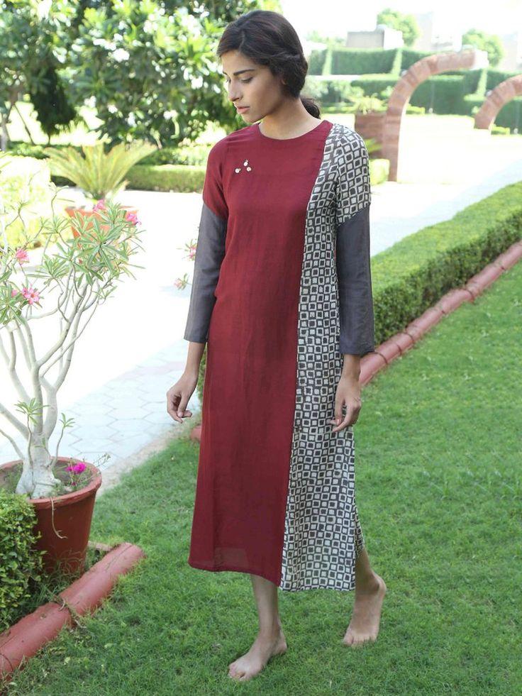 Maroon Hand Block Printed Monga Silk Dress