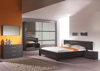 Chambre adulte complète contemporaine coloris wengué BANGKOK