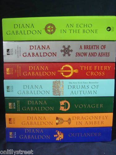 "Best series ever! Outlander series by Diana Gabaldon: I'm hooked on the series but have developed ""Gabaldon Wrist Syndrome"" from propping up the weighty tomes whilst reading; I may have to break down and get a Kindle! ""Written In My Own Heart's Blood"" is 800 pages plus."