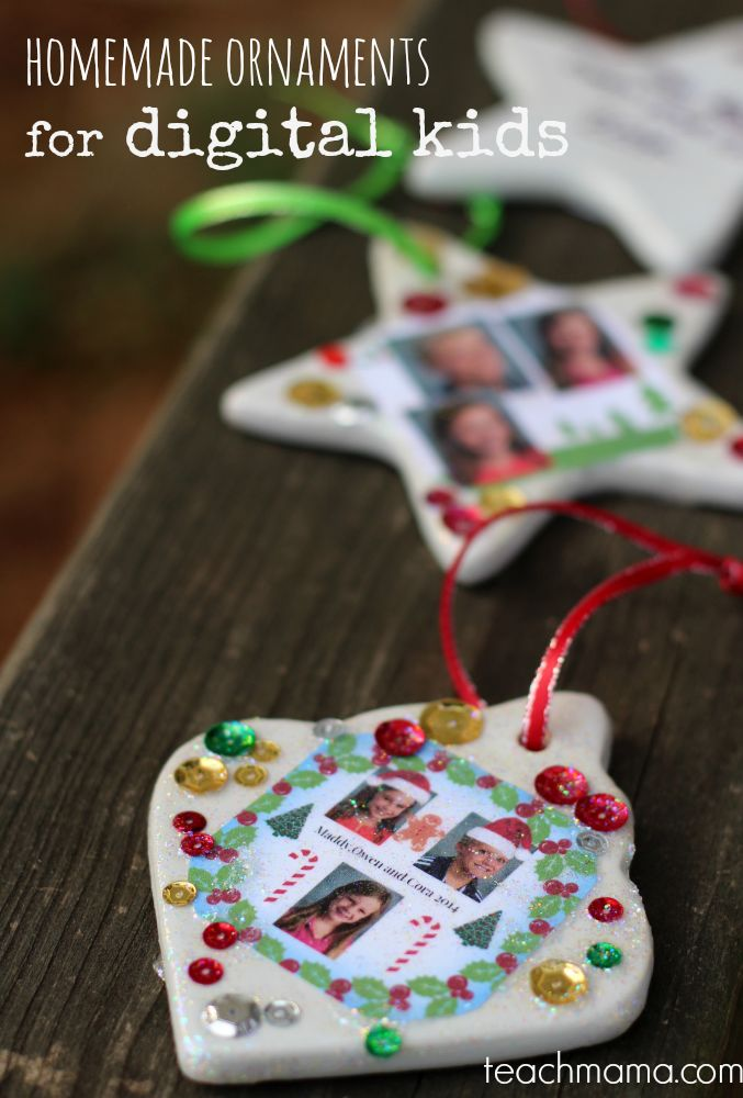homemade ornaments for digital kids | allowing the kids to use their computer skills and technical savvy for these ornaments along with the old-school crafty craft piece makes these a HUGE win