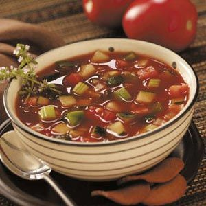 """Simple Gazpacho Recipe -""""Simple-as-can-be"""" best describes this hearty cold soup from Chris Brooks of Prescott, Arizona. """"You just chop and combine the ingredients, then chill,"""" she advises. """"It tastes great with crunchy croutons or breadsticks."""""""