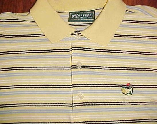 Masters Collection The US Masters Tournament Men's Yellow Striped Polo Shirt M #Masters #PoloRugby