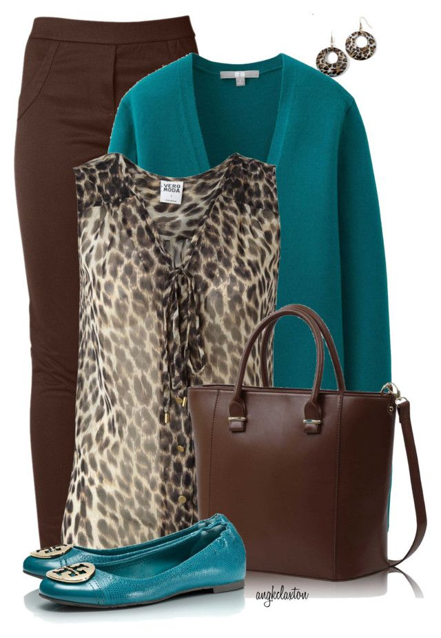 Casual Teal and Brown by angkclaxton on Polyvore featuring polyvore, fashion, style, Vero Moda, Uniqlo, Raxevsky, Tory Burch, FC Select Vegan Bags and Mixit