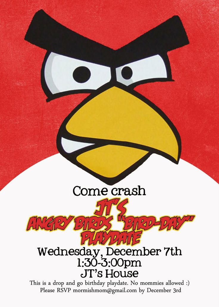 Best Rog Bday Images On Pinterest Angry Birds Bird Party And - Party invitation template: angry birds birthday party invitation template free