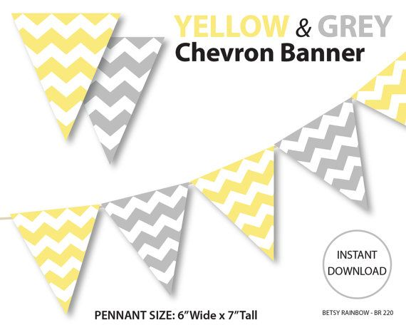 Printable banner chevron banner yellow and grey by BetsyRainbow, $2.00