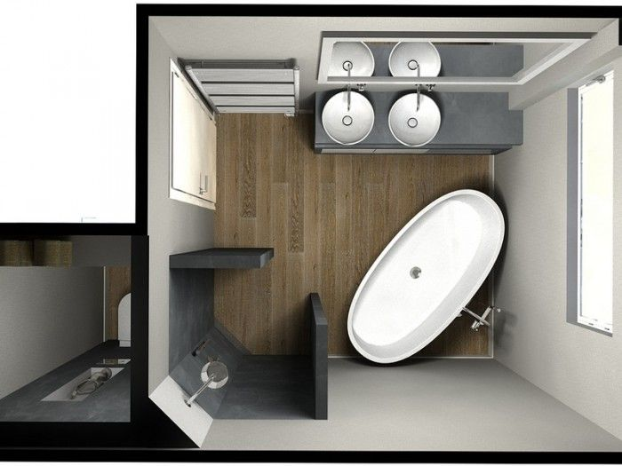 Kleine badkamer, beton ciré, vrijstaand bad