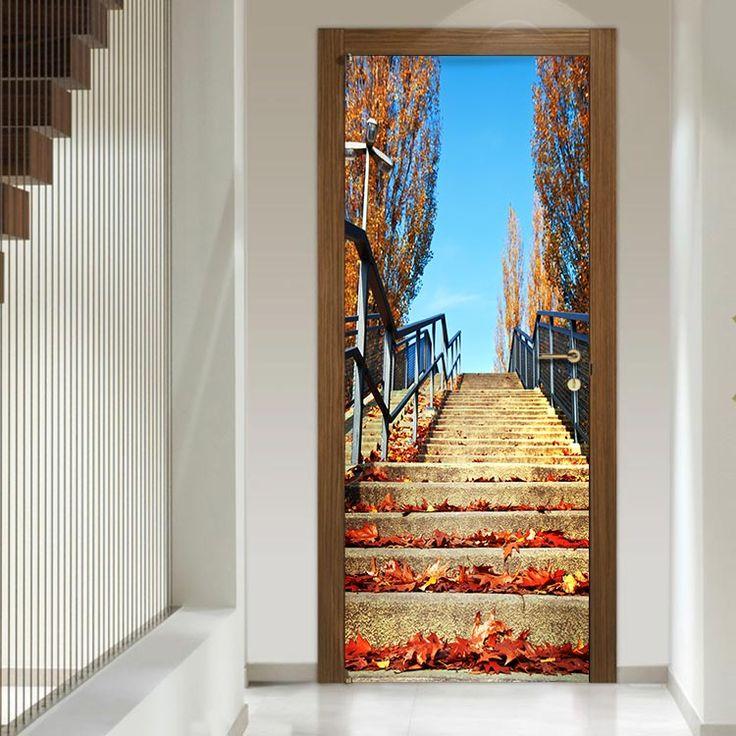 Σκάλα με φθινοπωρινά φύλλα - Αυτοκόλλητο πόρτας houseart
