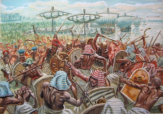 """Egyptian fighting the """"sea people"""", XII century BC"""