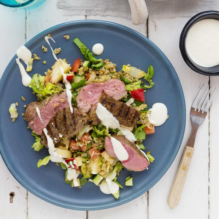 Ras El Hanout Lamb with Freekeh Salad and Tahini Sour Cream