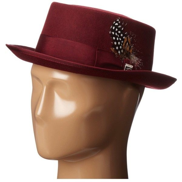Stacy Adams Pork Pie Wool Felt Hat w/ Grograin Band (Burgundy) Caps ($45) ❤ liked on Polyvore featuring men's fashion, men's accessories, men's hats, burgundy, hats, mens wool hats, mens felt hat, mens wool felt hats, mens caps and hats and men's brimmed hats