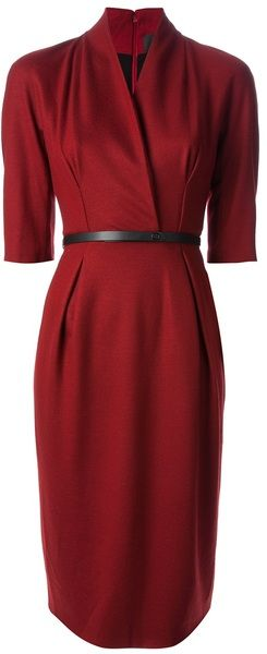 Gorgeous Blue-red Belted Knee Length Dress - GUCCI                              …