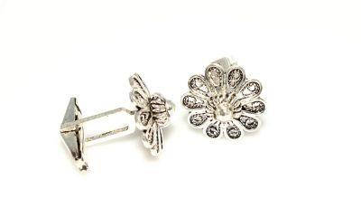 925 Ayar Gümüş Çiçek Modeli Kol Düğmesi
