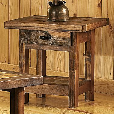 "Cabelas Mountain Woods Furniture, Wyoming Collection, End Table with Drawer 24""x21""x24"", $800"