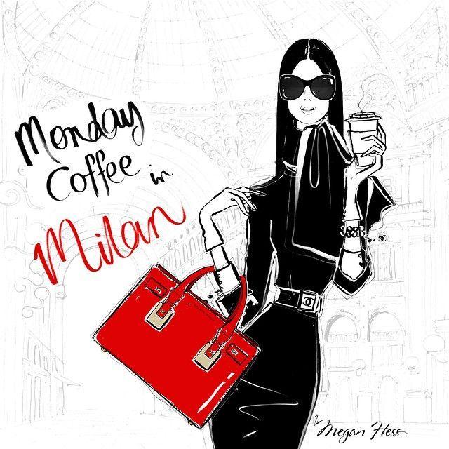 Monday Coffee in Milan illustration by Megan Hess. Ok so I'm not in Milan but I do love her pillar box red handbag. Belissimo! Have a good Monday. Twitter / Youtube / Bloglovin / Google+ / Instagr...