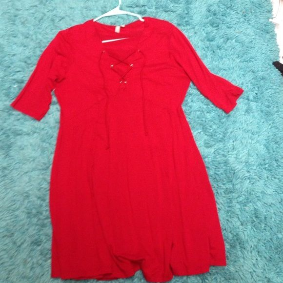 ASOS red dress with cross cross v neck Super cute Criss cross v neck design only worn twice ASOS Dresses