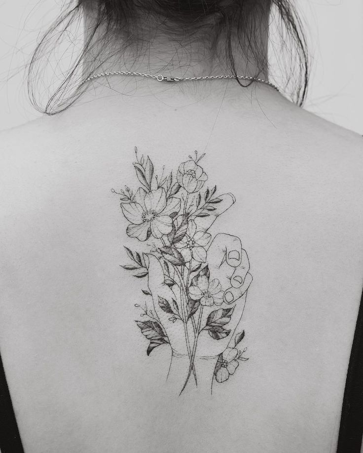 Flower leaf hand back tattoo fineline by Tritoan Ly