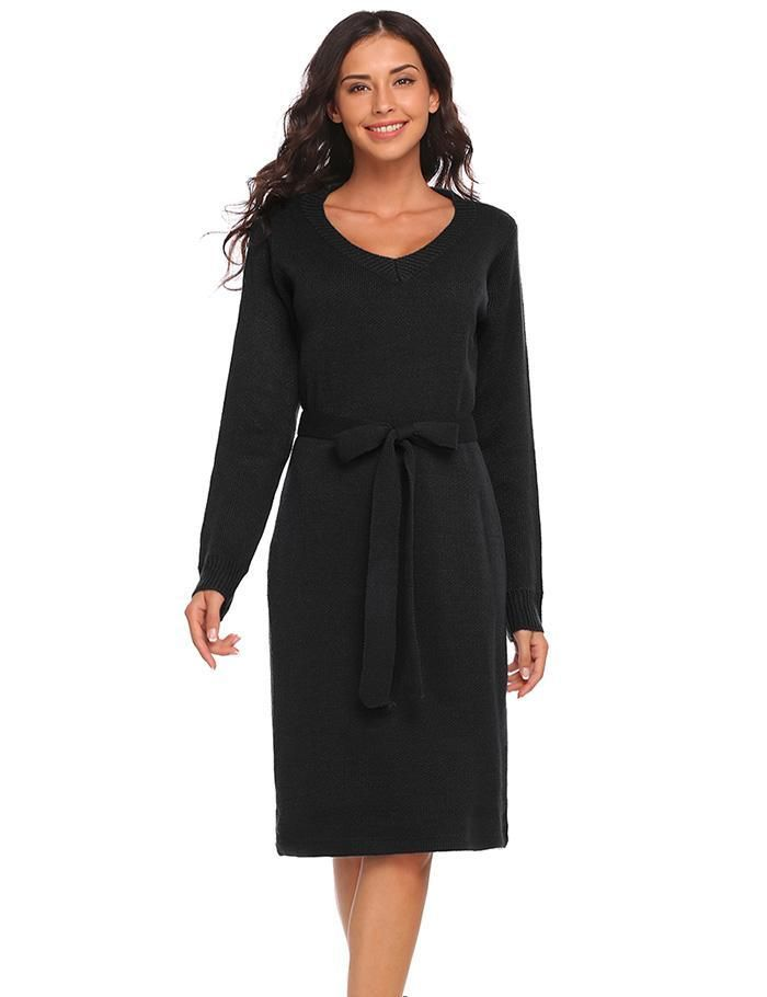 94092c1977 Women V Neck Long Sleeve Solid Slim Fit Pullover Knitted Sweater Dress w   Belt Casual