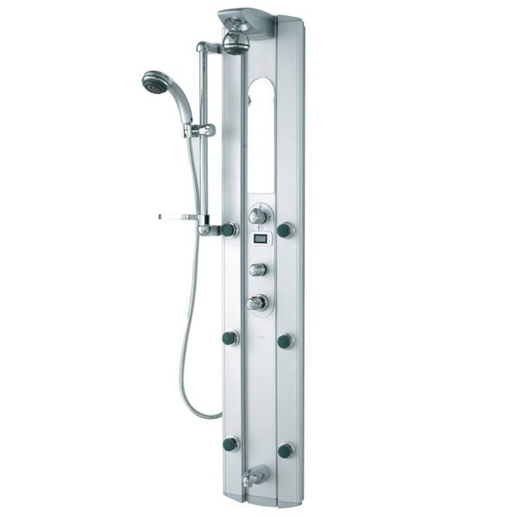 Vigo VG08004 Shower Panel System with Hose Hand Shower Six Body Sprays and Sh Satin Faucet Showerpanel Triple Handle