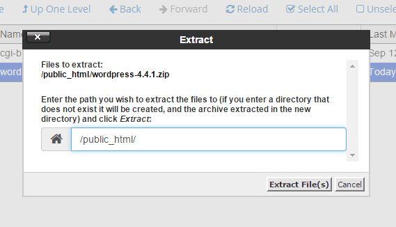 Extract file WordPress