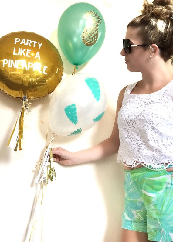P24 Party Like A Pineapple Balloon Decals Set Pineapple Balloons Party Balloons…