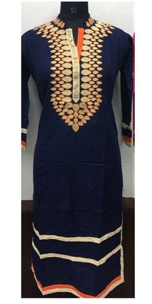 Sizzle Navy Blue Rayon Kurti.