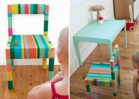 Delightful Yarn-Wrapped LATT Makeover One More MushroomChairs Sets, Yarns Crafts, Chairs Makeovers, Delight Yarns Wraps, Ikea Latte, Yarns Wraps Latte, Kids Painting Chairs, Ikea Kids Tables, Yarns Wraps Chairs