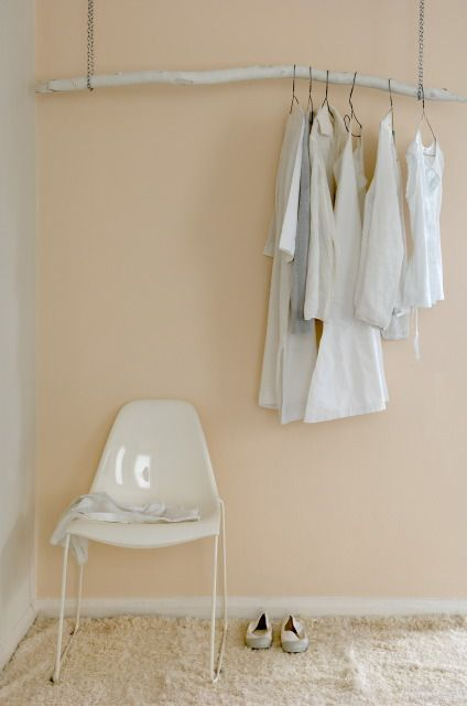 I really like the wall color and hanger idea.