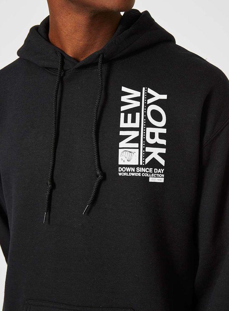 Black New York Print Oversized Hoodie - New This Week - New In - TOPMAN