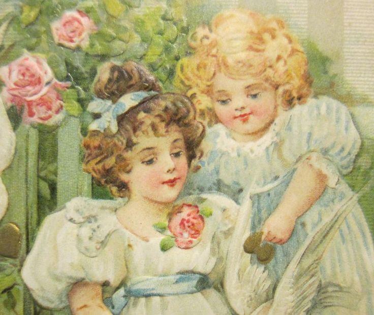 Pretty Girls Feeding Doves Winsch Schmucker--Antique Vintage Valentine Postcard! #ValentinesDay