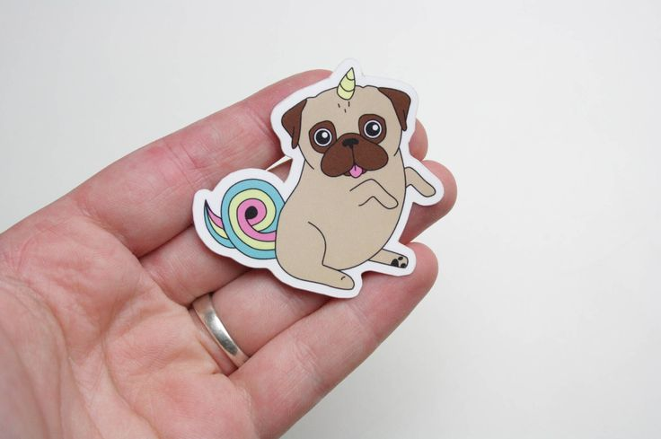 Pug unicorn sticker vinyl glossy - Unipug sticker - outdoor sticker glossy door NaisProductsNL op Etsy https://www.etsy.com/nl/listing/471118184/pug-unicorn-sticker-vinyl-glossy-unipug