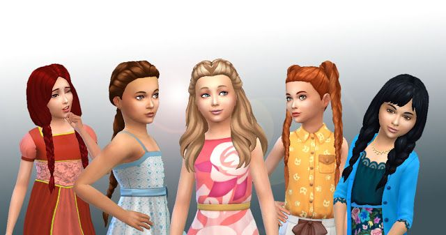 Sims 4 Updates: My Stuff - Hairstyles : Girls Braids Hairs Pack, Custom Content Download!