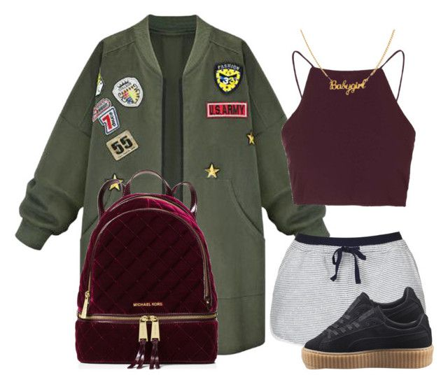 """""""6lack & Jhene Aiko First F*ck"""" by luhariiee on Polyvore featuring WithChic, Topshop, Puma and MICHAEL Michael Kors"""