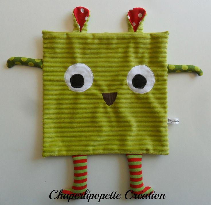 Doudou plat tout doux vert anis 001 : Jeux, peluches, doudous par chaperlipopette-creation