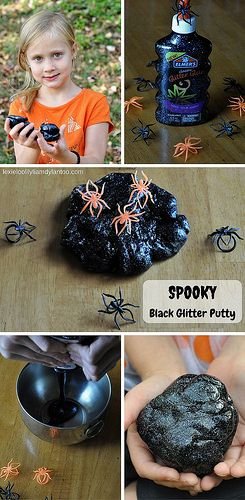Spooky Black Glitter Putty - Easy to make, hours of fun! #sensoryplay #putty #halloween