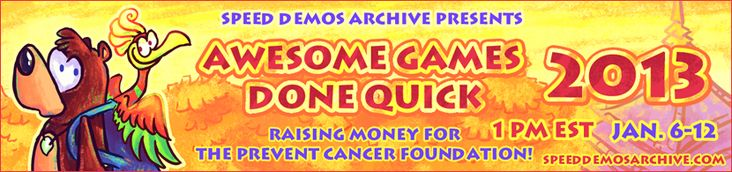 Speed Demos Archive Hosts Charity Event Featuring Colors, 06, Shadow and More -  While this is a week-long event, the folks behind the Speed Demos Archive are hosting a charity event and hours of video games Done-quick live.right now! Even if youre waiting for Lebrons film, youll recognize some participants such as... http://www.sonicretro.org/2013/01/speed-demos-archive-hosts-charity-event-featuring-colors-06-shadow-and-more/