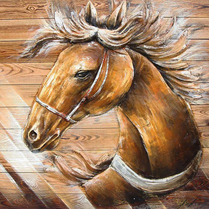 Wanddecoratie hout bruin Paard