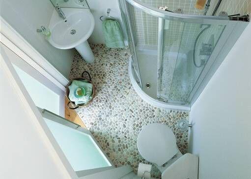 corner toilet, corner pedestal sink, and corner shower for small bathroom.