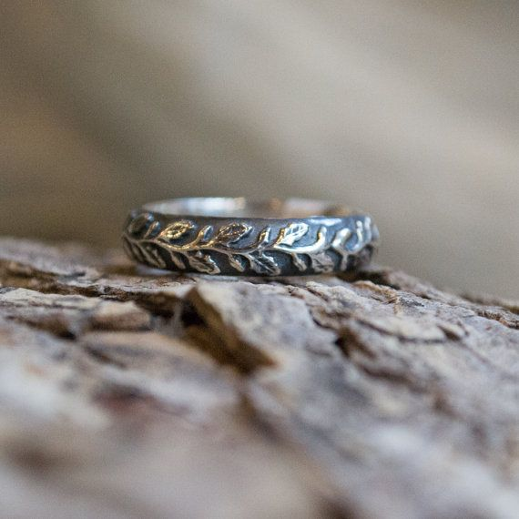 Mens and Womens ring, nature band, unique wedding band, Botanical band, Sterling silver ring, vine ring, leaf ring - Waves of love R2152
