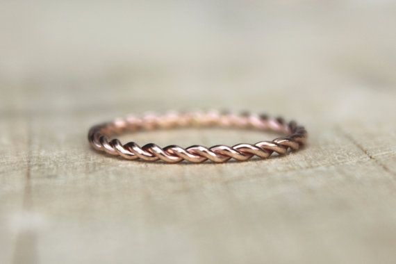 Rose Gold Twist Ring, pink Gold Fill Stackable Ring, karma jewelry, eternity ring, nautical theme on Etsy, $24.00