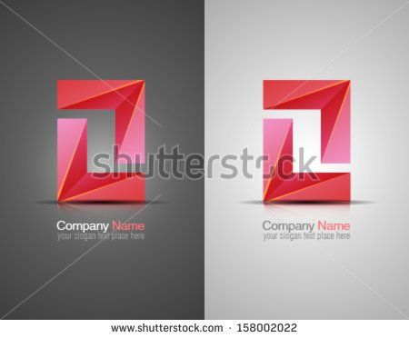Vector abstract icon. Corporate identity. Design elements. Pink shapes.