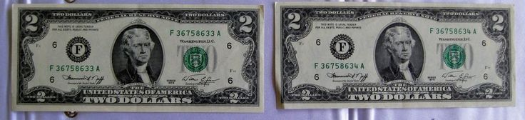 Two 1976 F Series Two Dollar Federal Reserve Notes Consecutive Uncirculated