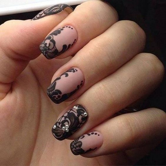 Nails design short nails pink matte varnish black patterns flowers mesh guipure all materials for manicure sevtao.ru