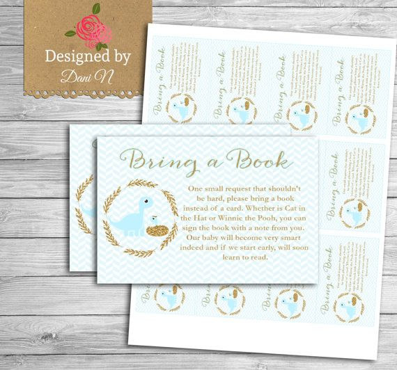 bring a book baby shower insert dinosaur baby by