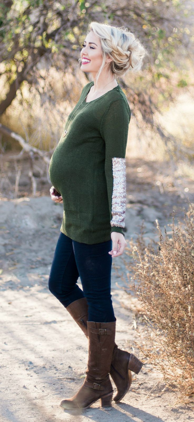 If you want to make sure you stay glamorous for the fall season, this accent sleeve knit maternity sweater is the perfect piece for you. Pair this stylish maternity top with your favorite dark wash maternity jeans, and you're ready for endless holiday parties this season.