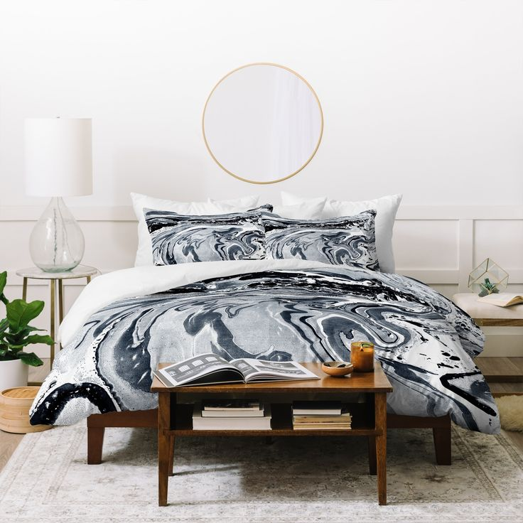 Deny Designs Amy Sia Marble Navy Duvet Cover Set