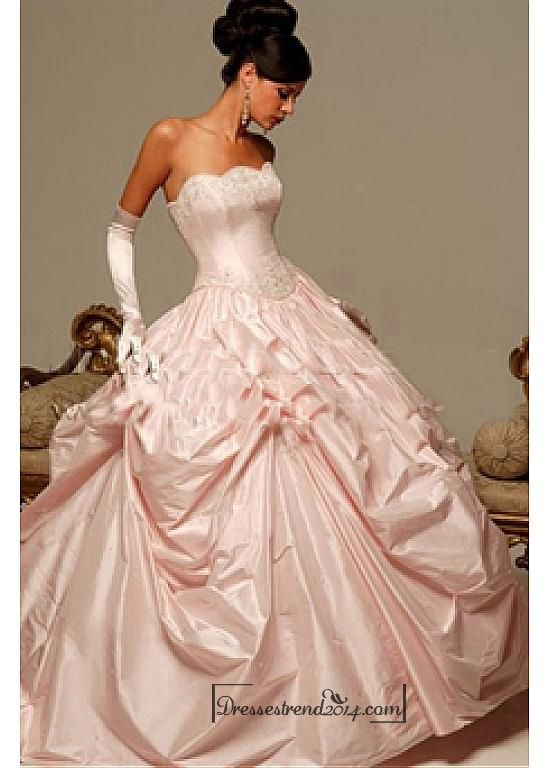 Beautiful Elegant Exquisite Taffeta Blush Pink Rose Ball Gown Wedding Dress