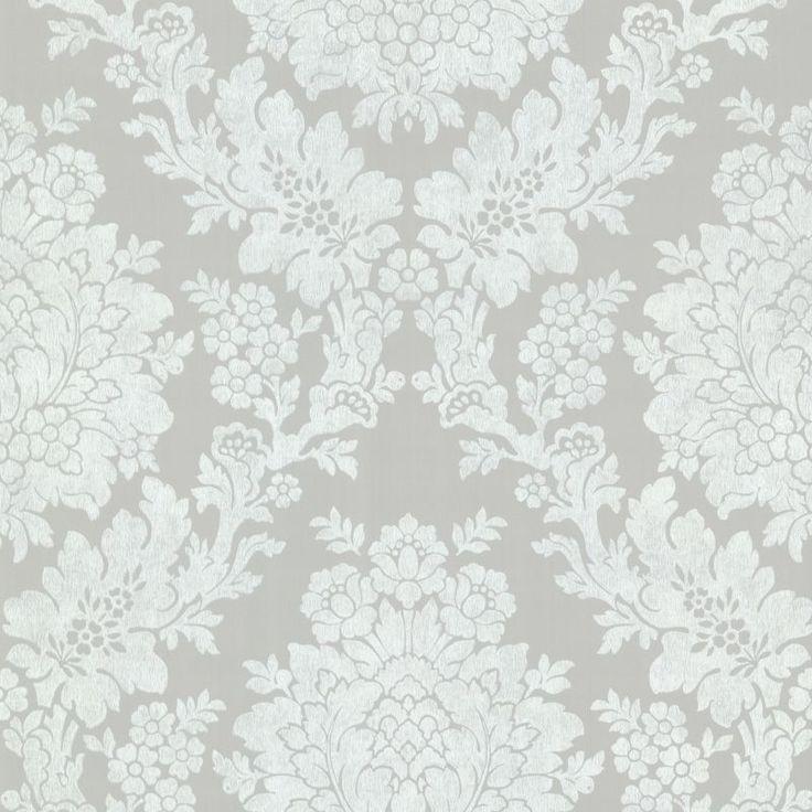 Brewster 344-68716 Liza Grey Roselle Damask Wallpaper Grey Home Decor Wallpaper Wallpaper