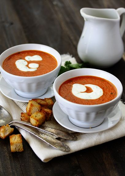 Roasted Red Pepper Soup with Smoked Paprika and Cilantro Cream...mmmm ...
