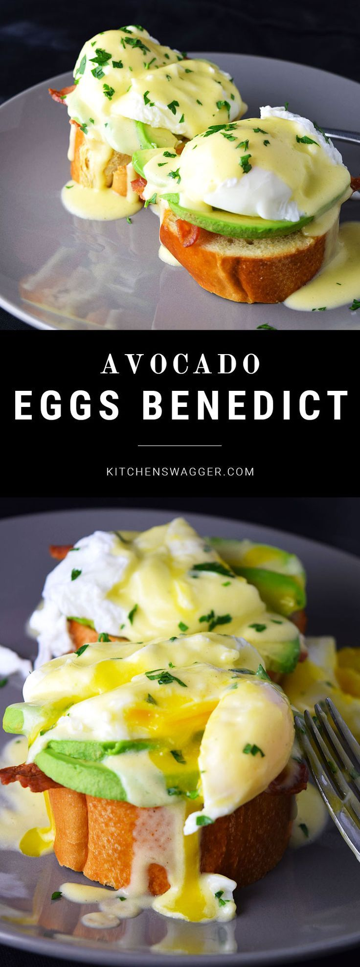 Delicious eggs benedict served on avocado slices, bacon, and french bread.
